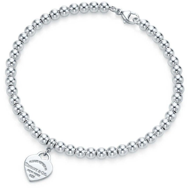 Return to TiffanyTM mini heart tag in sterling silver on a bead bracelet - Size 6.5 in