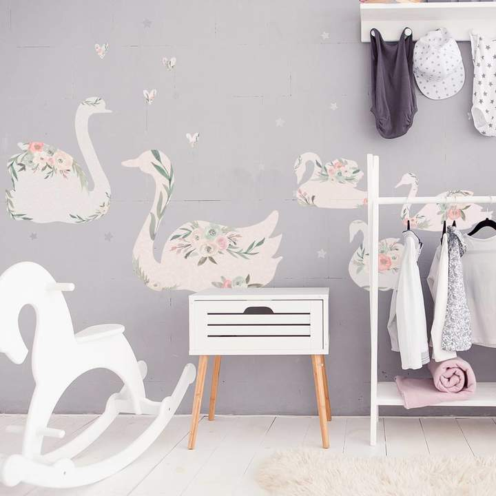 Spin Collective Fabric Floral Swan Wall Stickers