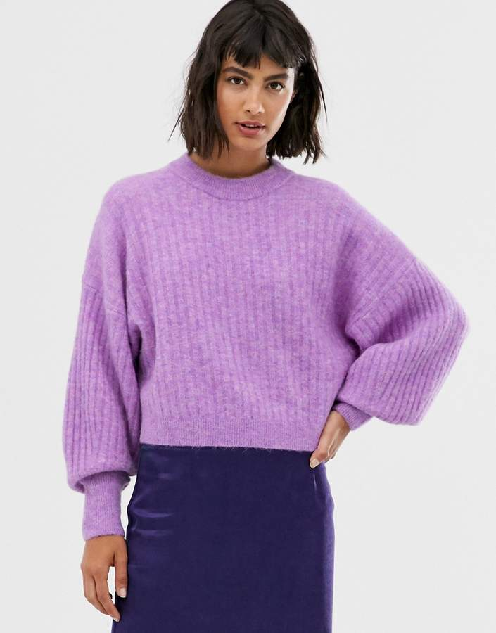 & Other Stories round neck balloon sleeve jumper in violet