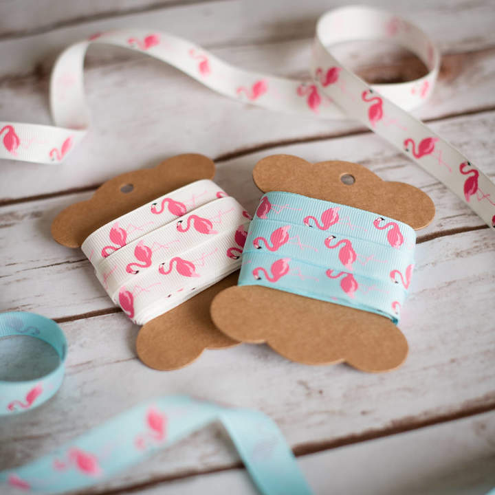 Lovely Jubbly Designs Flamingo Tropical Flamingos Ribbon Gifts Craft