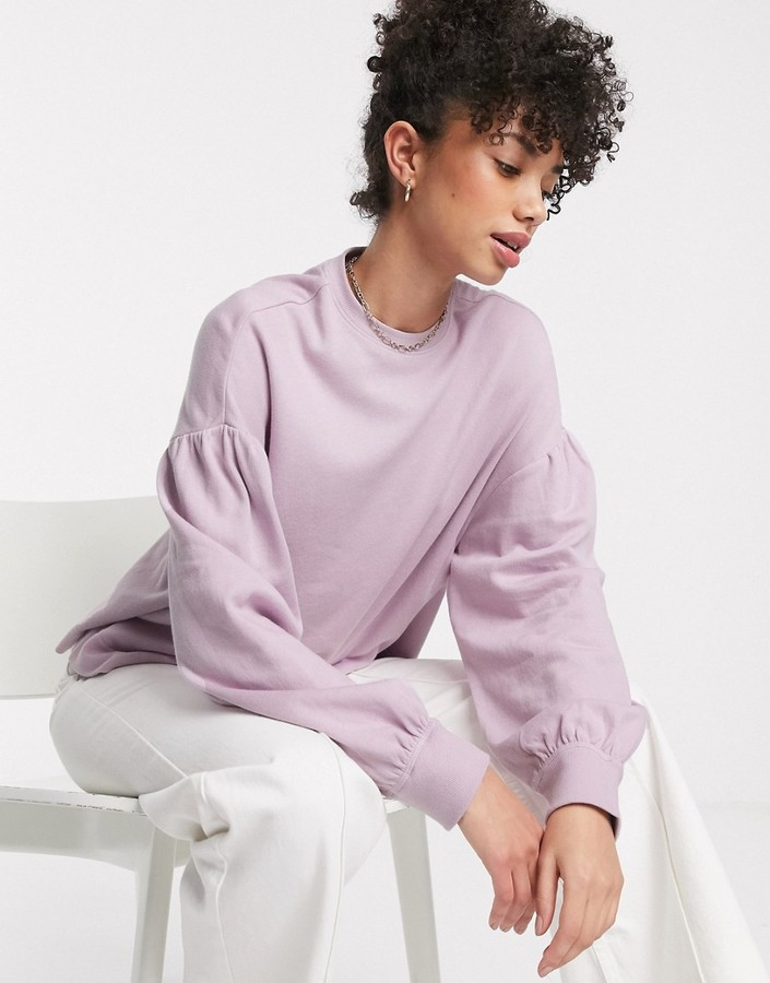 & Other Stories balloon sleeve drop shoulder top in lilac