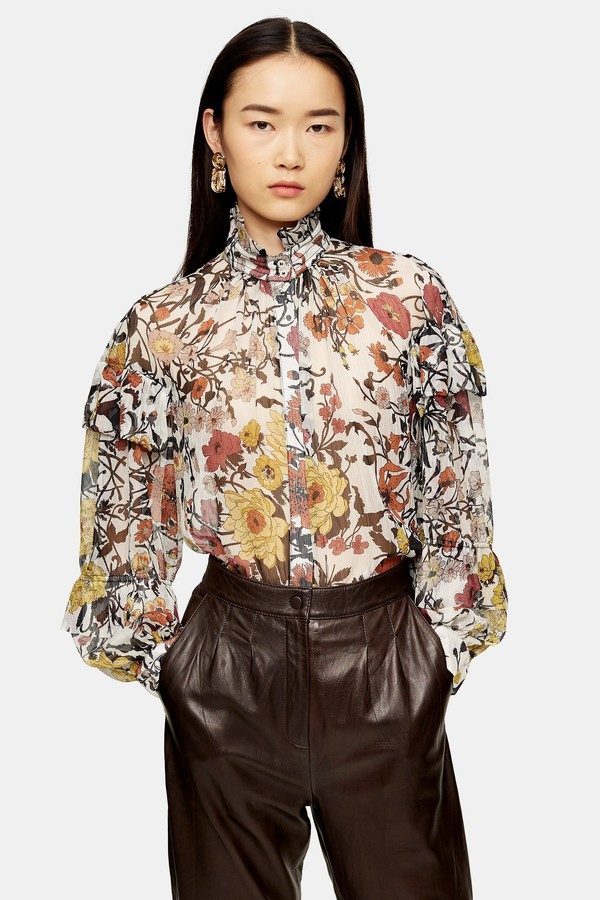 Womens Idol Double Ruffle Floral Print Blouse - Multi