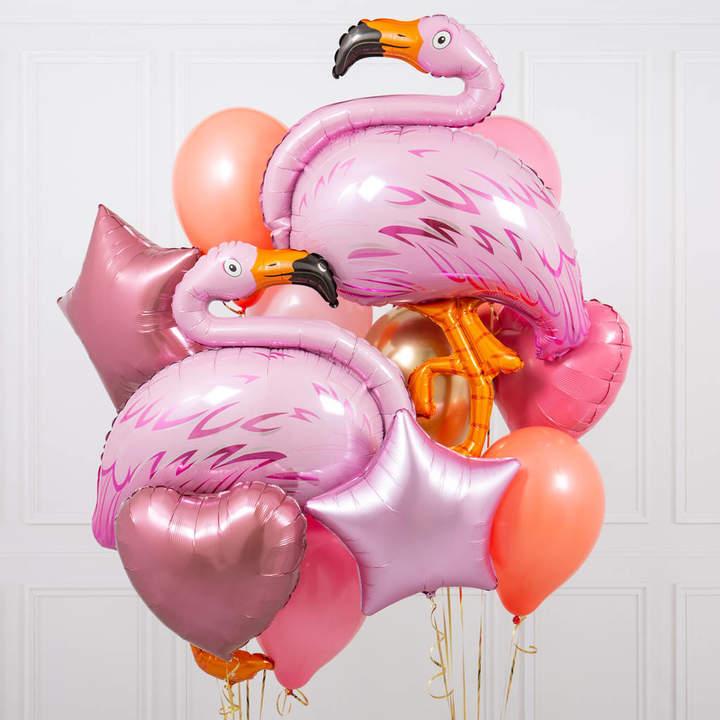 Bubblegum Balloons Flamingo Coral Crazy Party Balloon Bunch