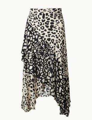 Animal Print Wrap Midi Skirt