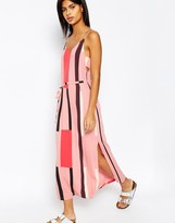 ASOS Tab Side Maxi Dress in Block Print