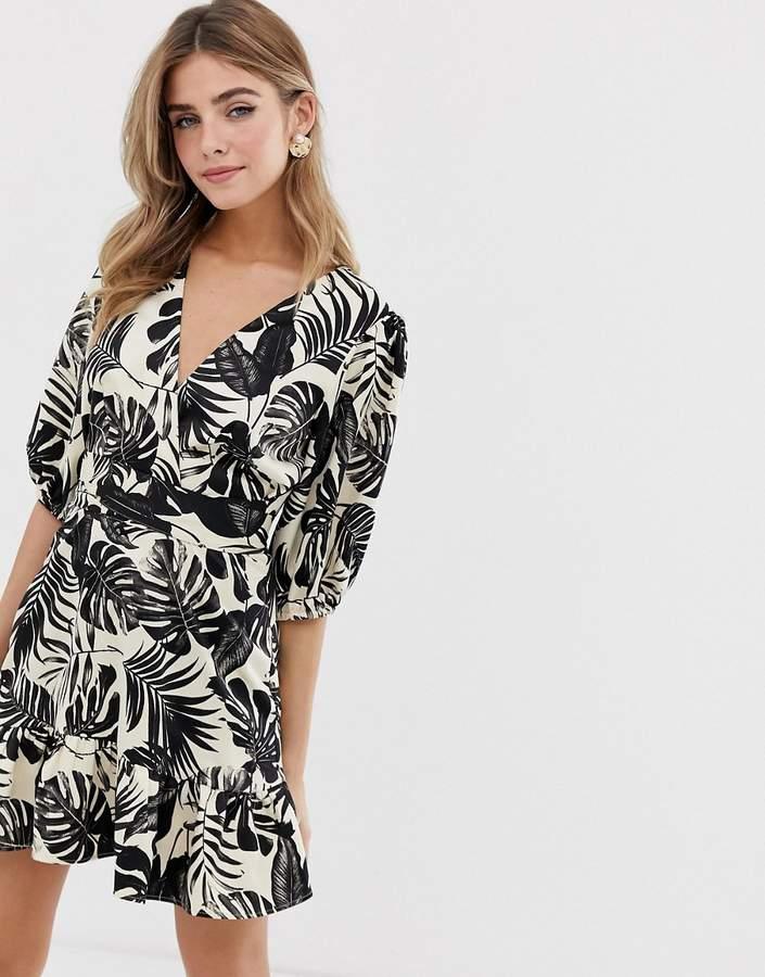 Asos Design ASOS DESIGN wrap mini dress in mono tropical print