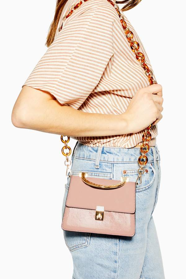 Topshop Womens Champagne Cross Body Bag - Pink