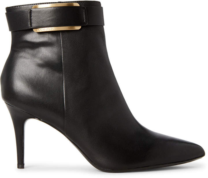 Calvin Klein Black Georgene Leather Ankle Booties