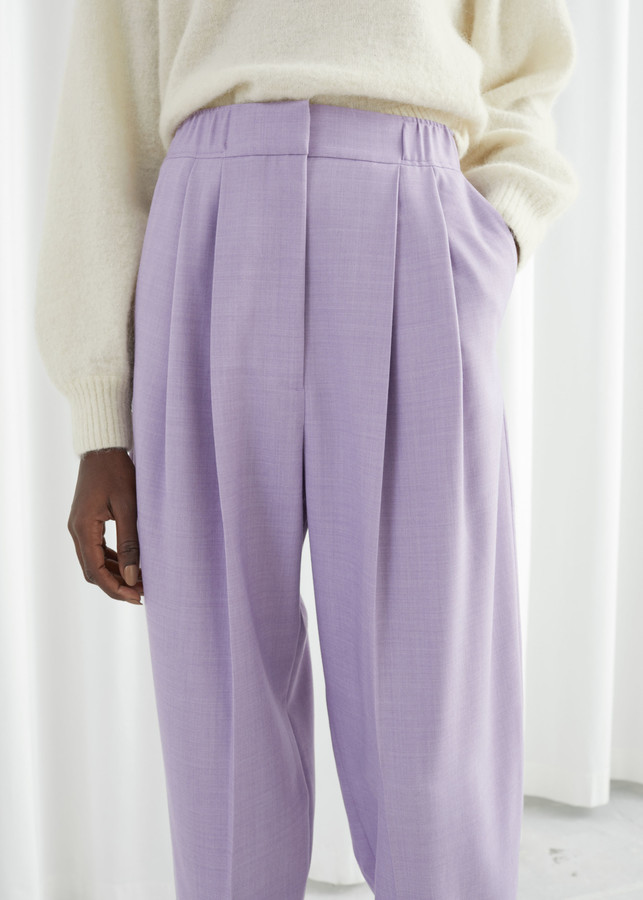 Tailored Wool Blend Pleat Trousers