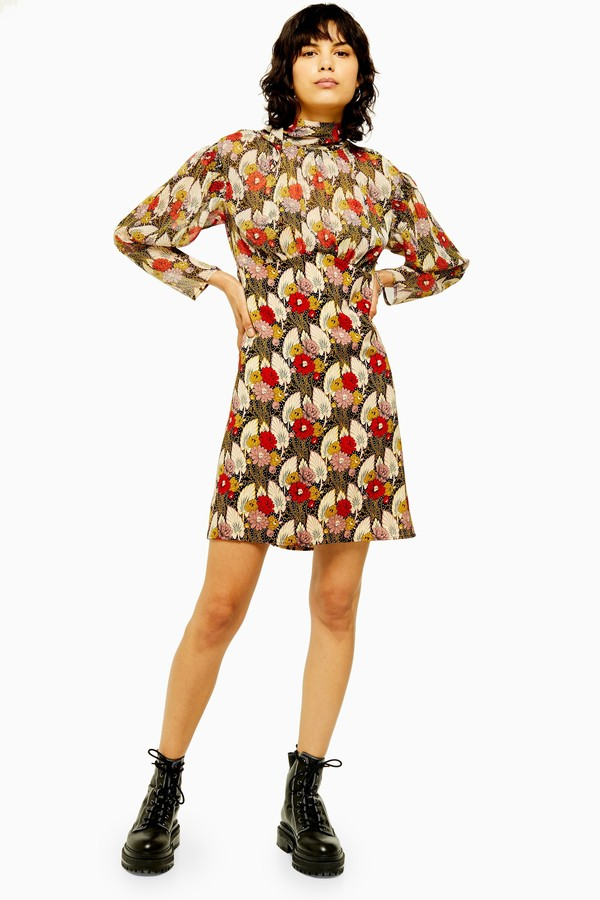 Topshop Womens Petite Idol Empire Line Mini Dress With Lily Print - Multi