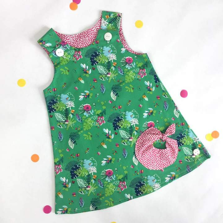 Lily & Giraffe Girls Handmade Tropical Pinafore Dress