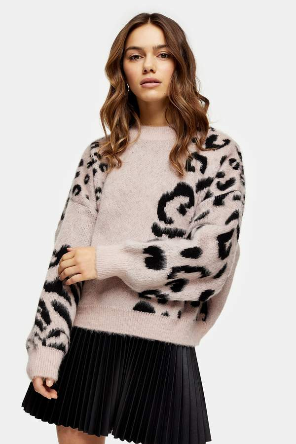 Topshop Womens Petite Knitted Spliced Animal Print Jumper - Neutral