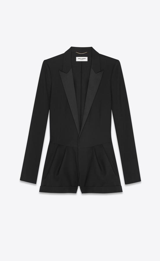 Tuxedo Playsuit In Gabardine Black 10
