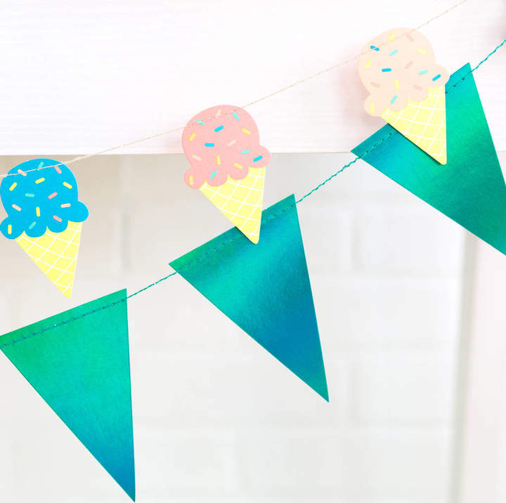 Peach Blossom Ice Cream Bunting Party Decoration