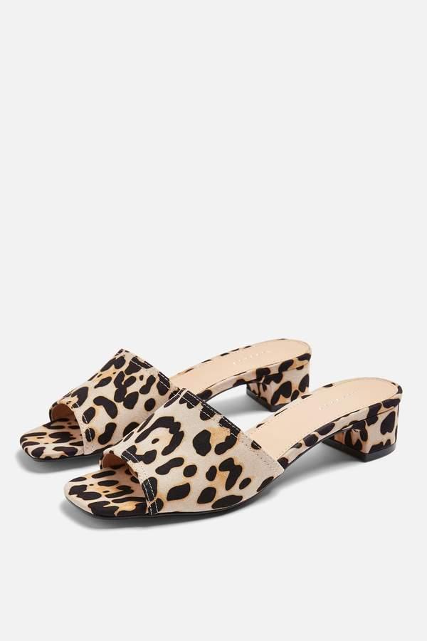 Topshop Womens Diva Leopard Mules - True Leopard