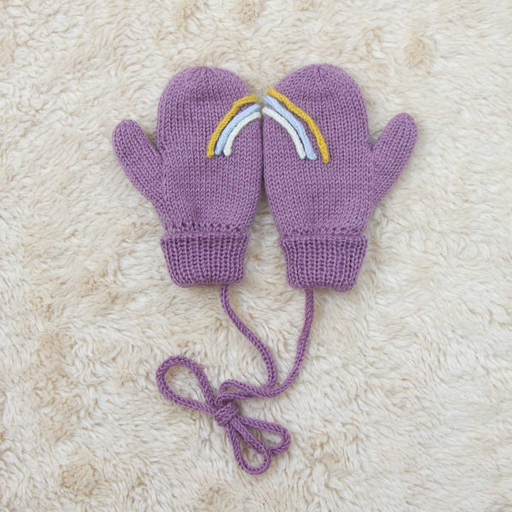 Button and Blue Purple Rainbow Mittens