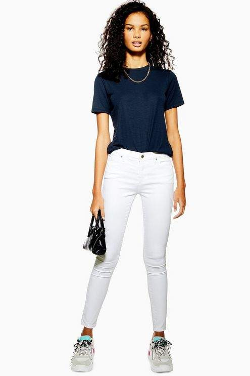 Topshop Womens White Leigh Jeans - White