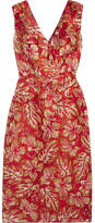 Prada - Metallic Floral-jacquard Midi Dress - Red