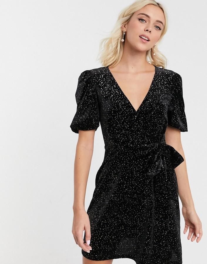 Asos Design ASOS DESIGN glitter velvet mini tea dress-Black