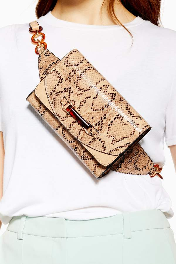 Topshop Womens Darcy Snake Belt Bag - Natural