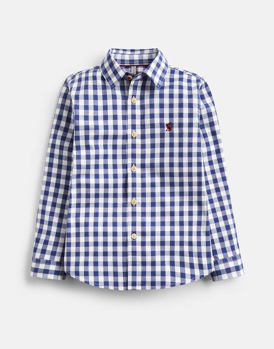 Joules Navy Gingham 203949 Linen Gingham Shirt Size 7Yr-8Yr