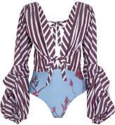 Johanna Ortiz - Floure Striped Cotton-blend Poplin And Printed Jersey Bodysuit - Purple