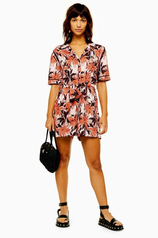 Topshop Womens Pink Tropical Bowling Playsuit - Pink