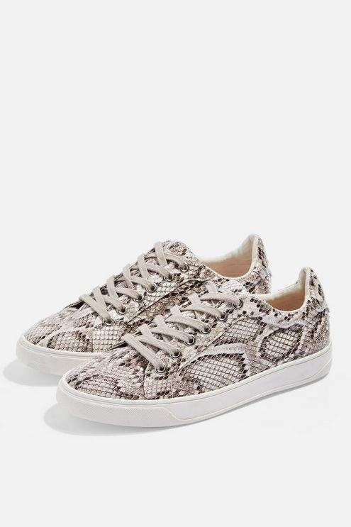 Topshop Womens Cola Snakeskin Lace Up Trainers - Multi