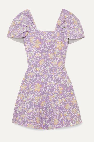 Rotate Birger Christensen ROTATE Birger Christensen - Petra Off-the-shoulder Floral-jacquard Mini Dress - Lilac