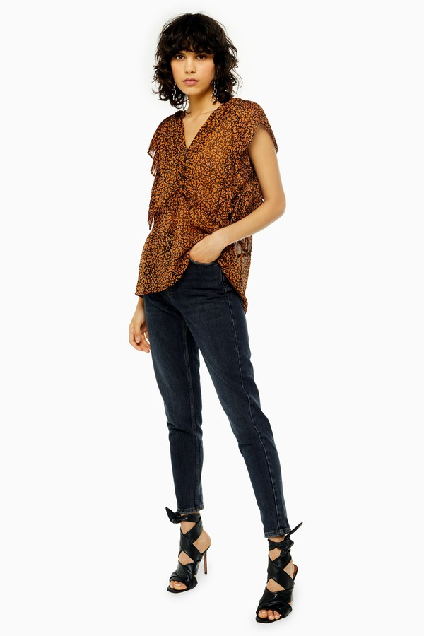 Topshop Womens Idol Sulphur Mom Tapered Jeans - Blue