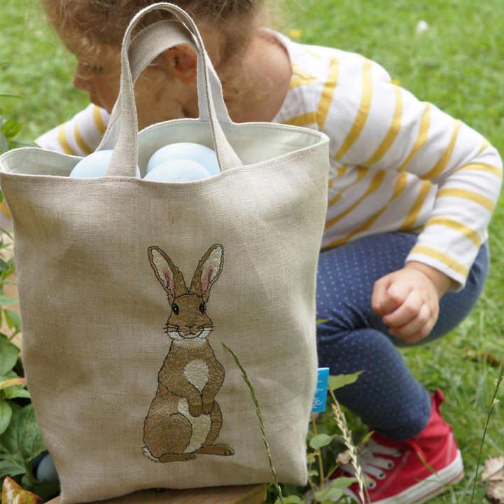 Kate Sproston Design Embroidered Rabbit Easter Egg Hunting Bag