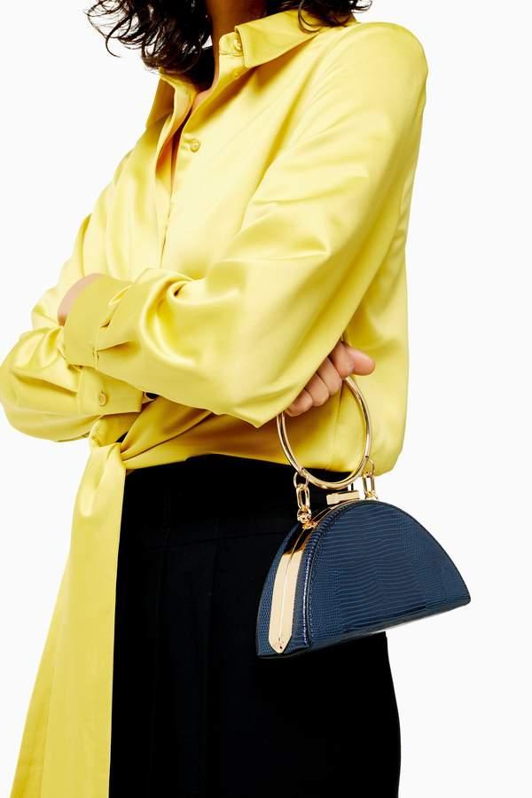 Topshop Womens Gabs Blue Half Moon Mini Grab Bag - Blue