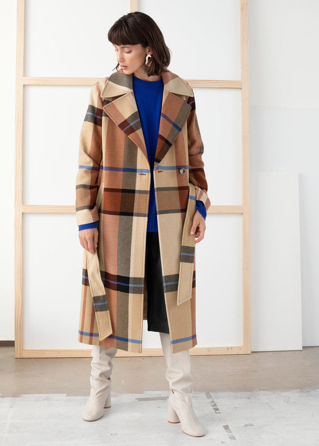 Plaid Wool Blend Belted Long Coat