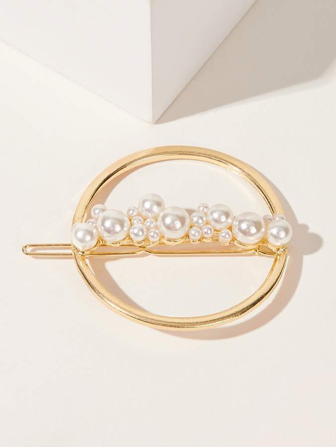 Romwe Faux Pearl Round Hair Clip