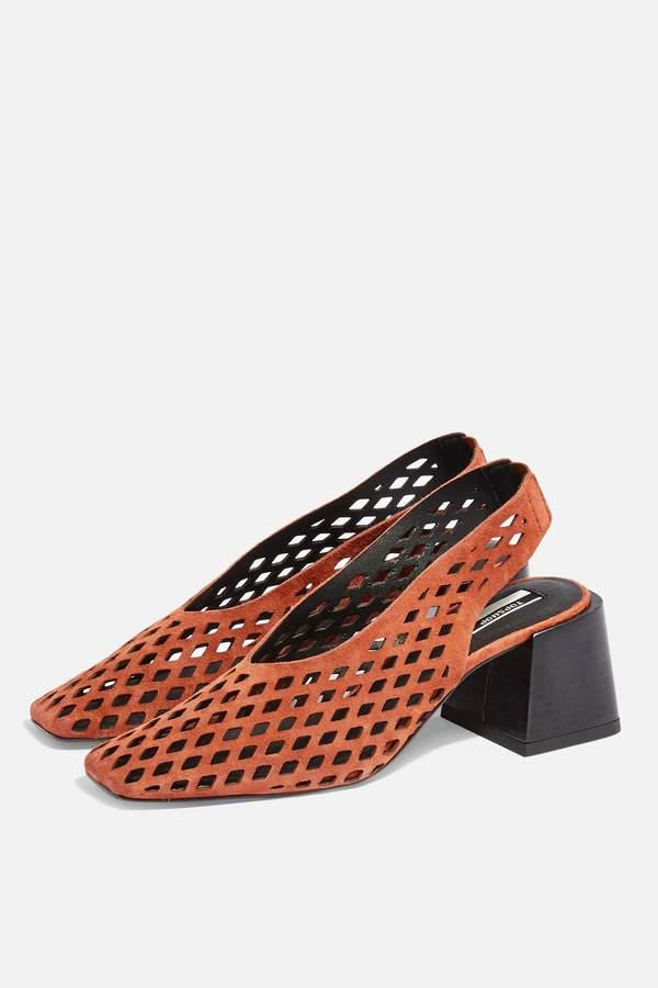 Topshop Womens June Leather Rust Slingback Heels - Rust