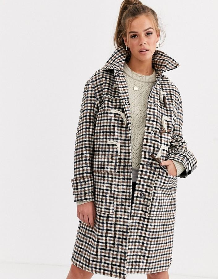 Asos Design ASOS DESIGN check duffle coat-Multi
