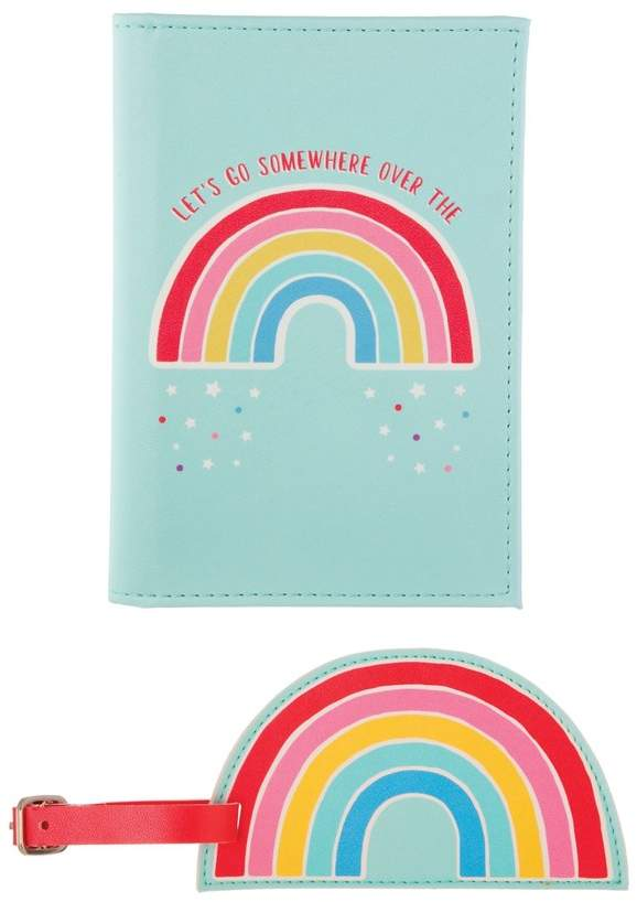 Womens Sass & Belle Rainbow Passport Holder & Luggage Tag - Blue