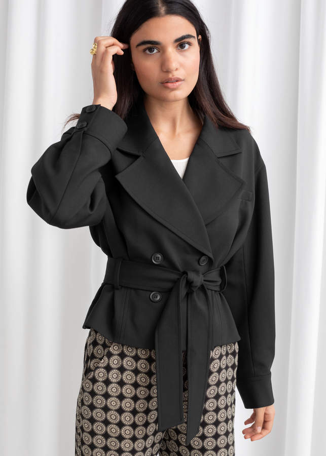 Belted Wool Blend Trench Jacket