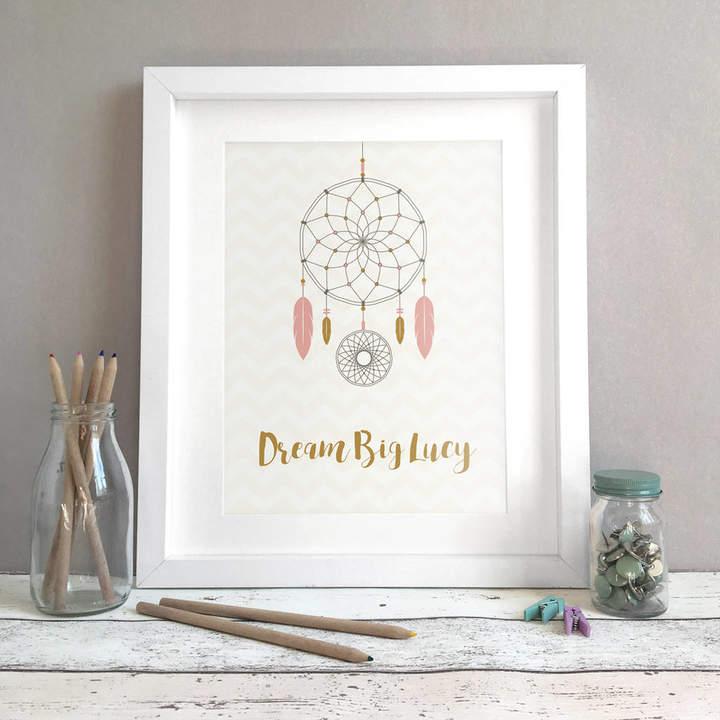 Bird & Key Personalised Dreamcatcher Name Print