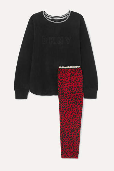 DKNY - Embroidered Leopard-print Fleece Pajama Set