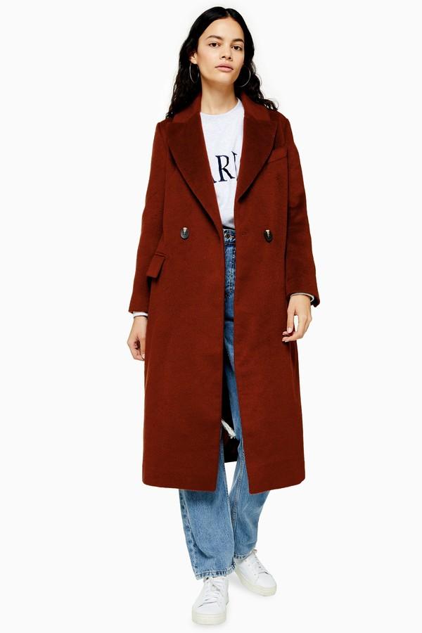 Womens Burgundy Longline Coat - Brick