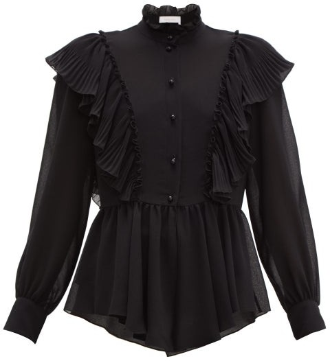 See By Chloé See By Chloe - Ruffled-collar Georgette Blouse - Womens - Black