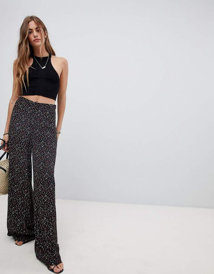 Free People Easy Peasy Printed Wide Leg Trousers