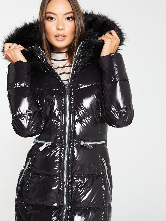 V By Very Long High Shine Padded Coat with Faux Fur Trim - Black