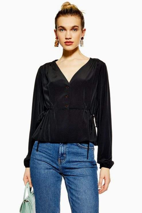 Topshop Womens Tie Side Blouse - Black