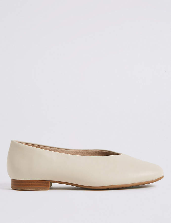 M&S CollectionMarks and Spencer Leather High Cut Ballerina Pumps