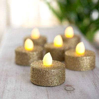 Lights4Fun Set Of 6 Gold Glitter Battery Led Tea Lights