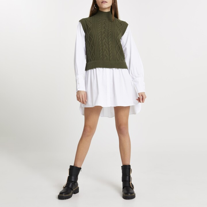 Womens Green chunky cable knitted shirt dress
