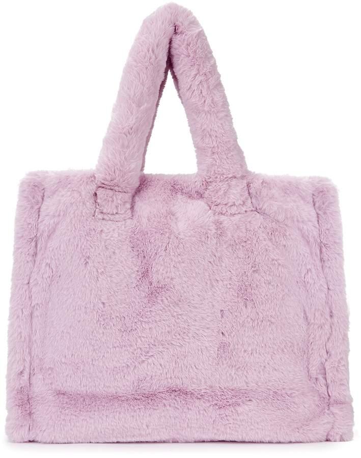 Lolita small lilac faux fur tote