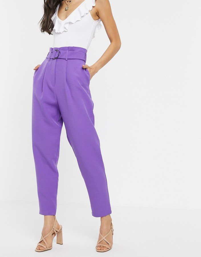 Asos Design ASOS DESIGN paperbag trousers with d ring in lilac